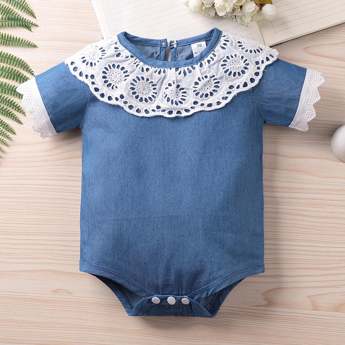 Ажурная вышивка Контрастный цвет Деним для малышей от SHEIN