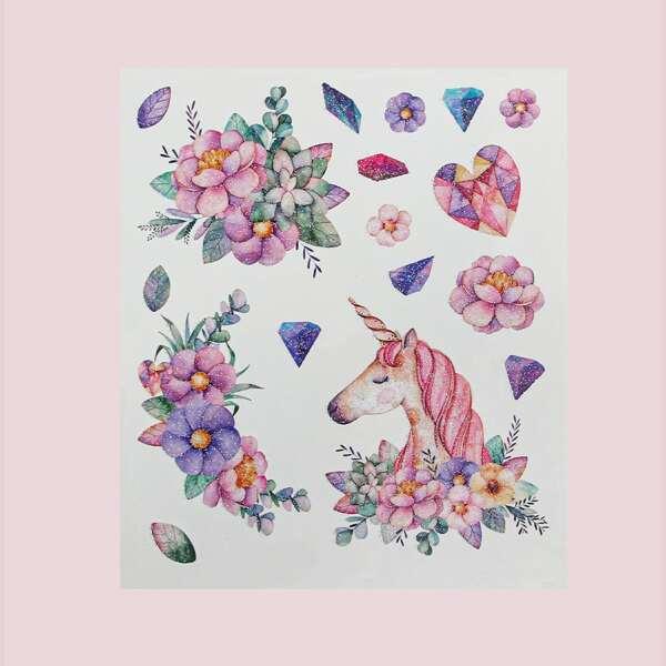 1sheet Unicorn & Flower Pattern Tattoo Sticker, Multicolor