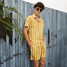 Guys Striped Print Button Front Shirt With Drawstring Waist Shorts