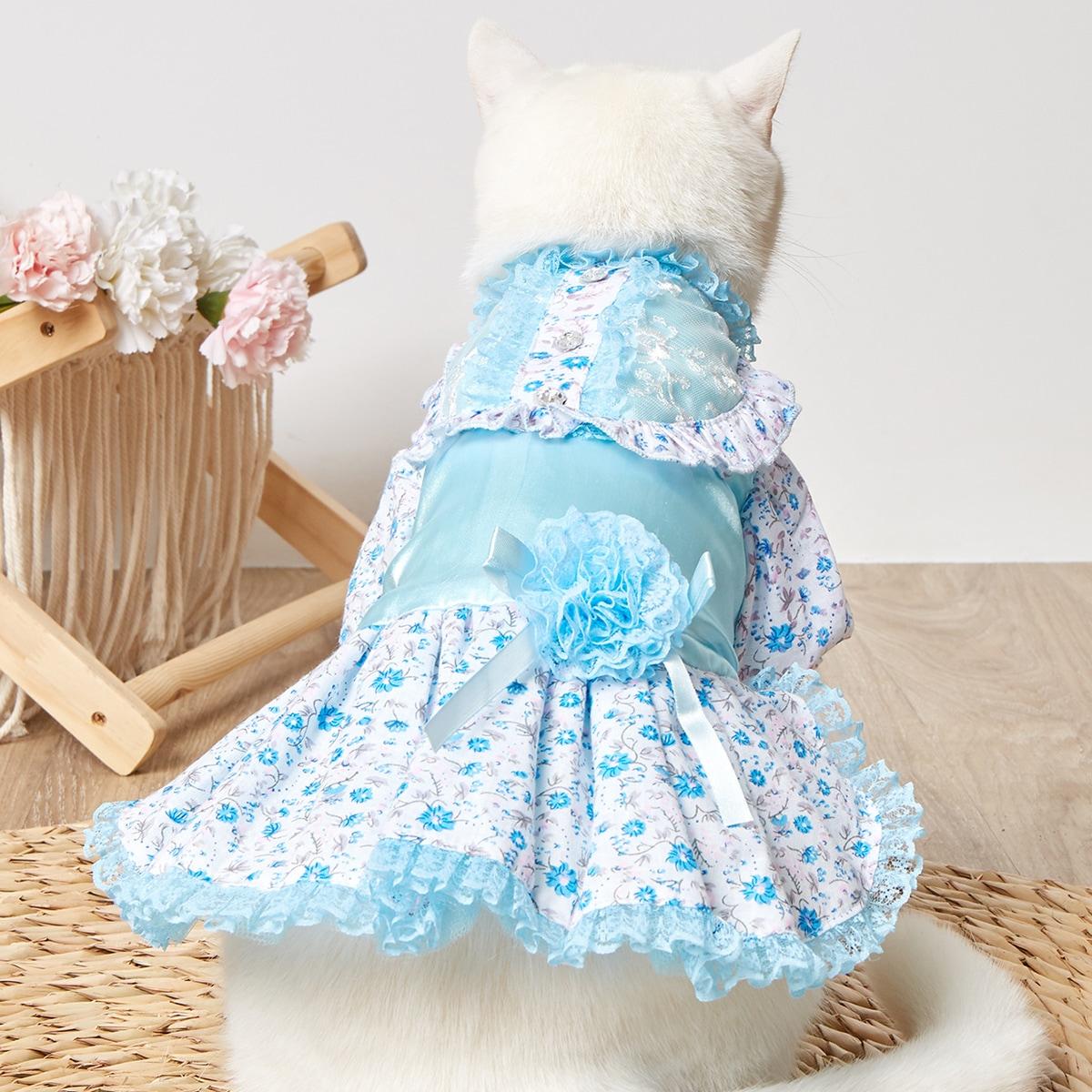 Flower Print Lace Pet Dress