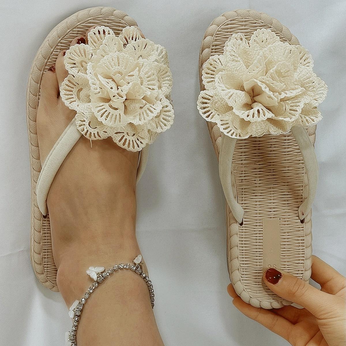 Вьетнамки с цветочным декором SheIn swshoes03210315404