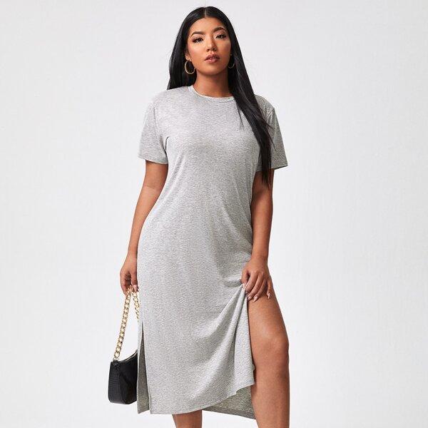 Plus Solid Split Thigh Tee Dress, Light grey