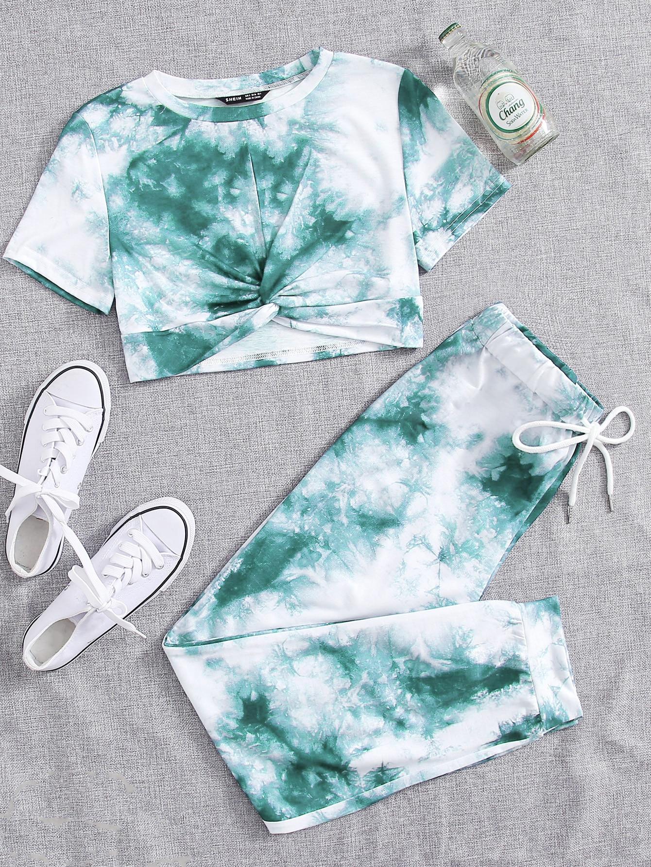 tie dye twist tee with drawstring sweatpants