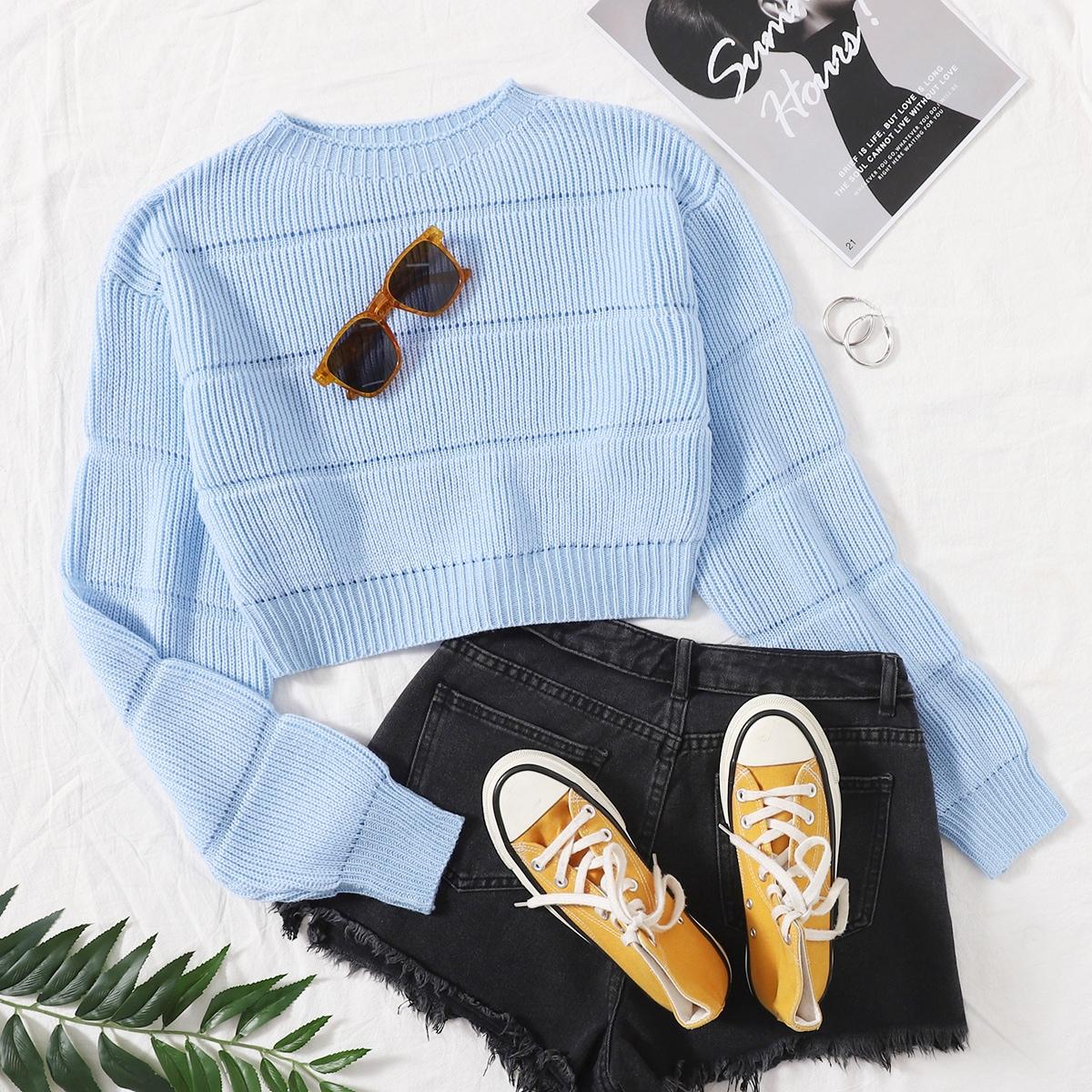 Трикотажный однотонный короткий свитер