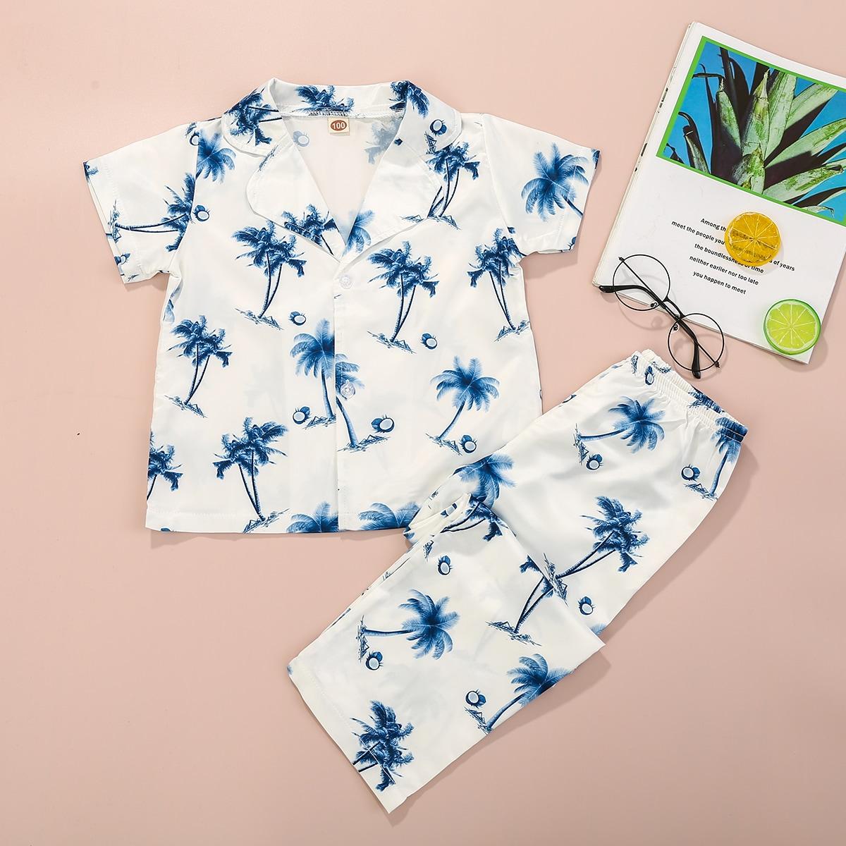 на пуговицах Тропический Повседневный Домашняя одежда для мальчиков