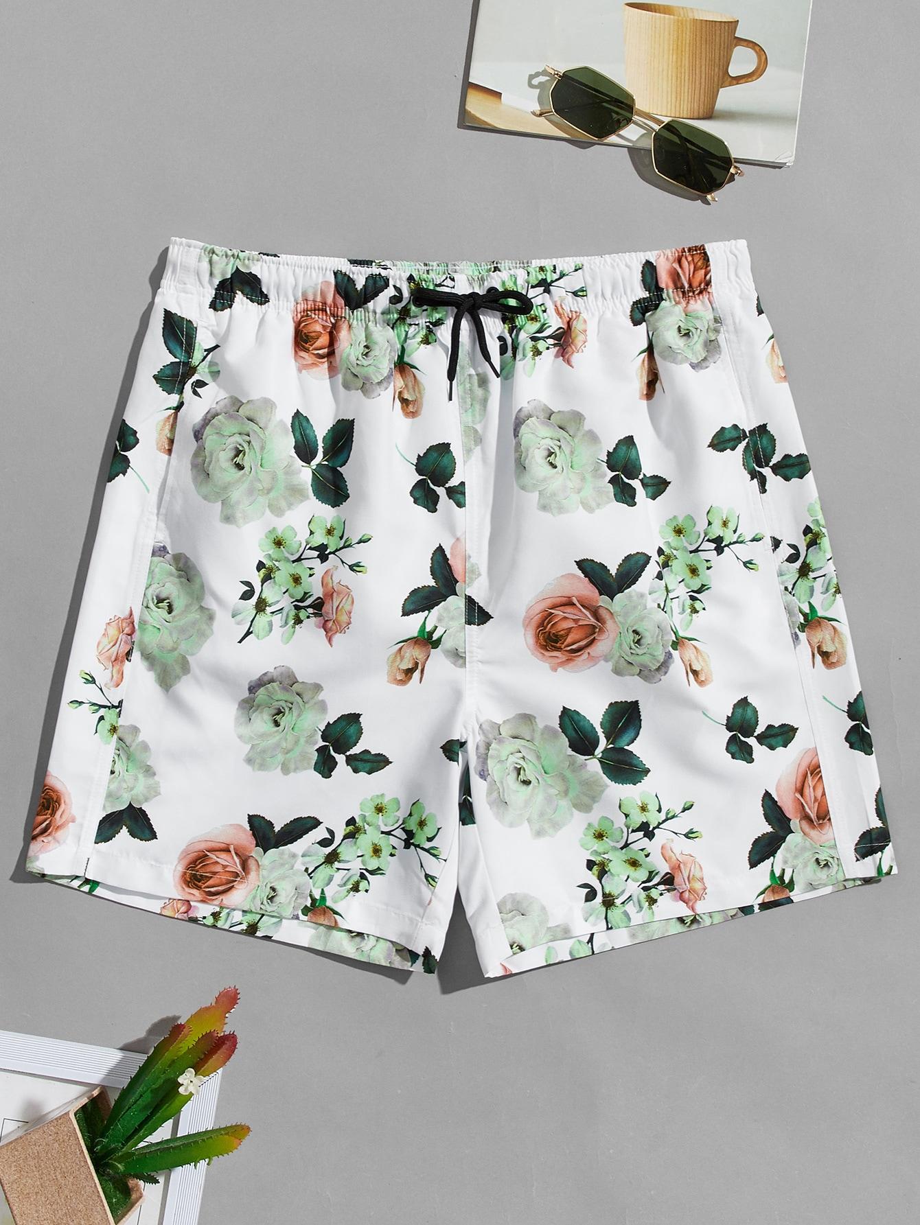 men allover floral drawstring swim trunks