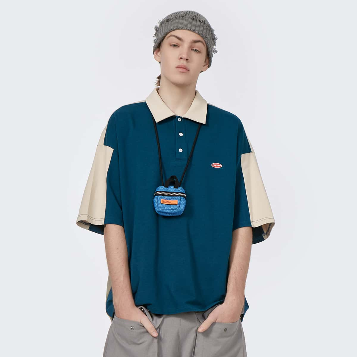 Men Color Block Drop Shoulder Polo Shirt Without Bag, SHEIN  - buy with discount