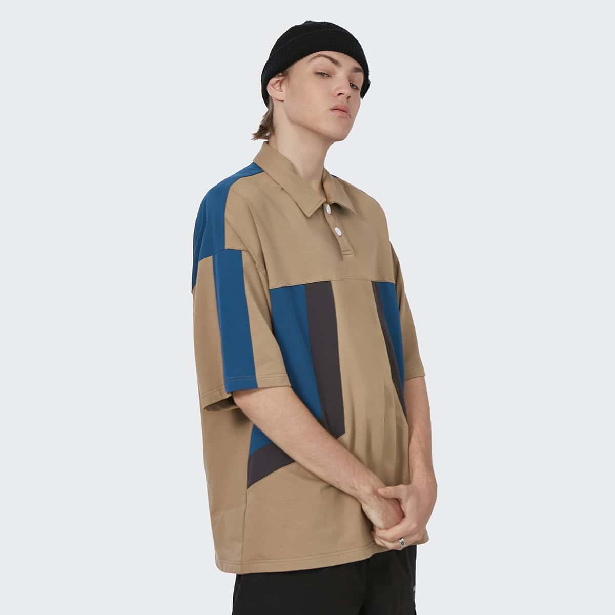 Men Color Block Drop Shoulder Polo Shirt, SHEIN  - buy with discount