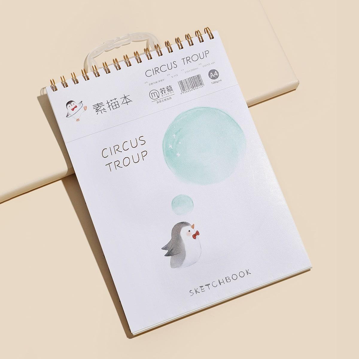 1 pieza libro de dibujo espiral de cubierta con estampado de pingüino de dibujos animados