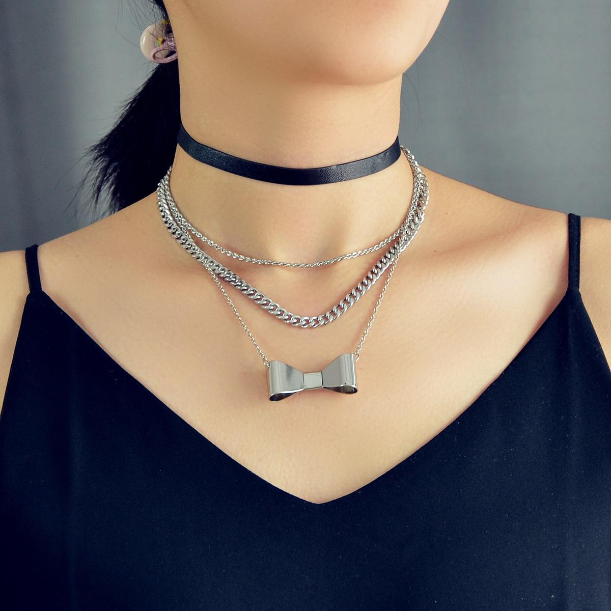 2pcs Bow Knot Decor Necklace