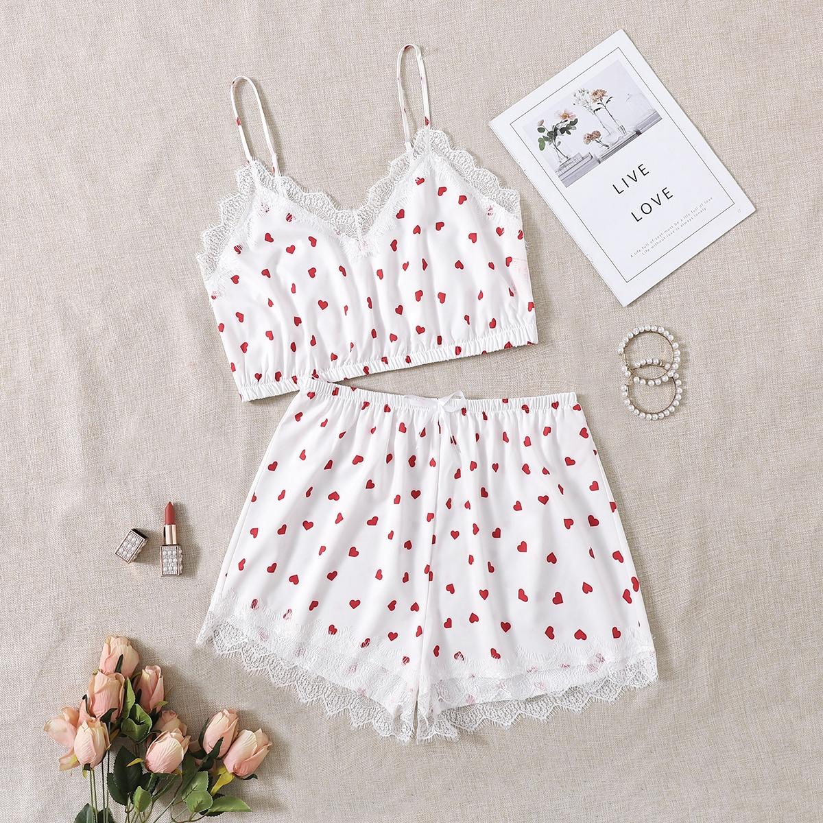 SHEIN Schattig Hart Grote maten pyjama sets Boog