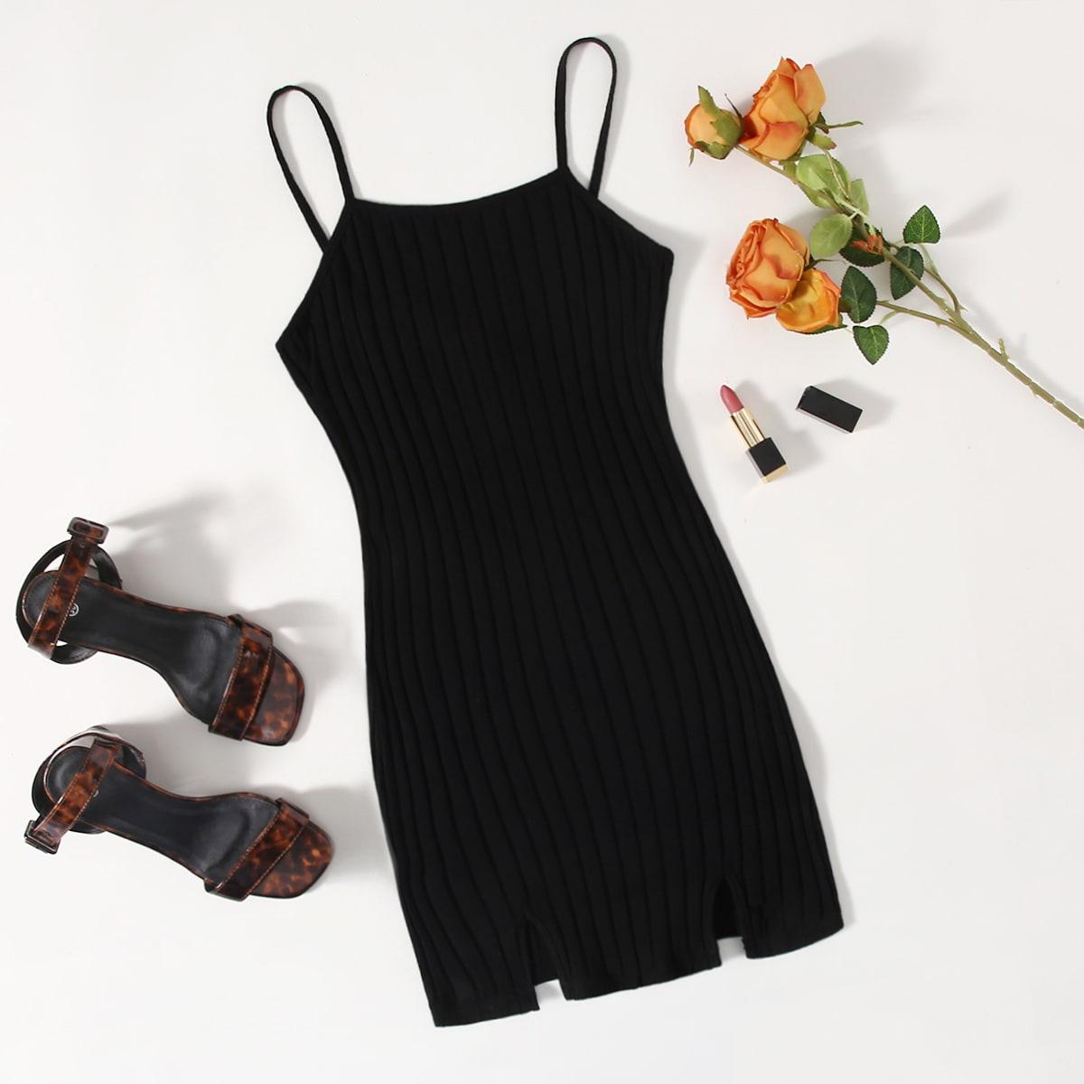M-slit Rib-knit Bodycon Dress
