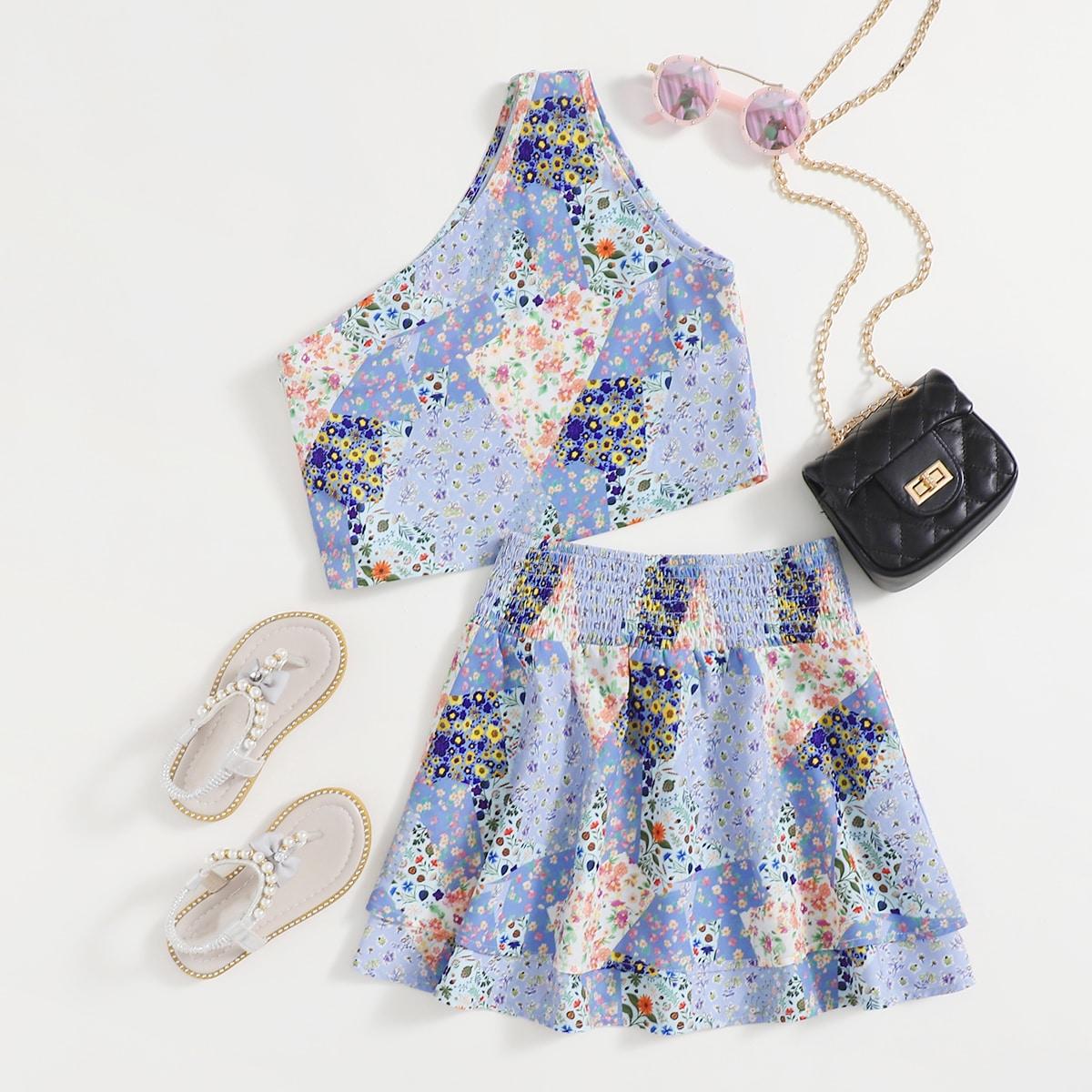 Girls One Shoulder Ditsy Floral Top & Shirred Panel Skirt Set