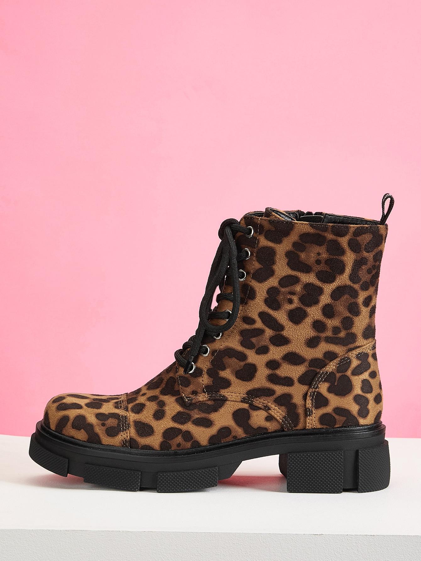 Leopard Print Lace-Up Front Combat Boots