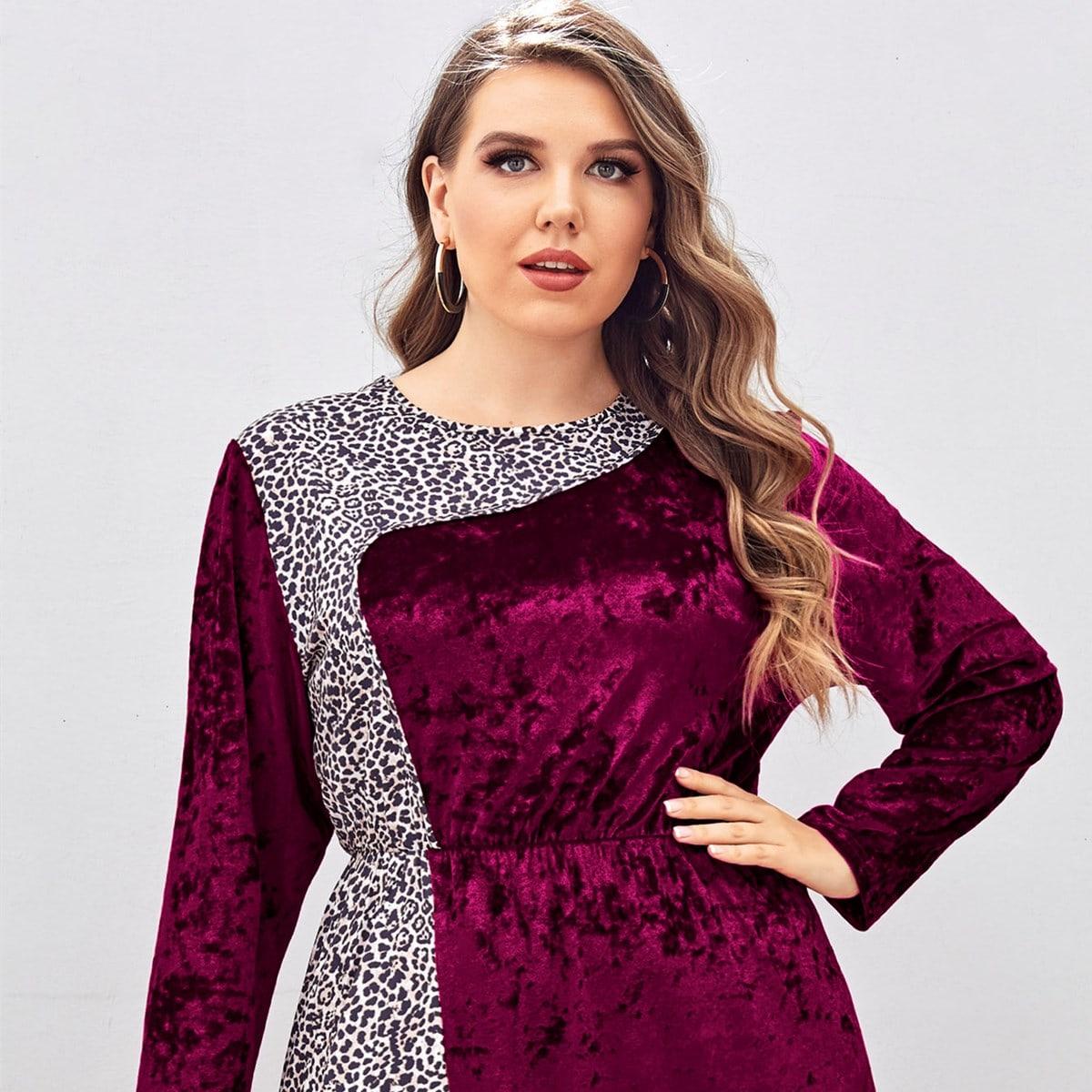 Plus Contrast Leopard Velvet A-line Dress