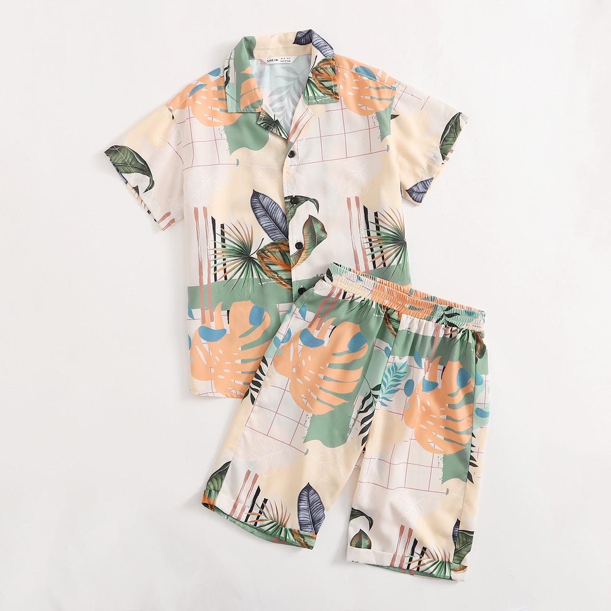 Однобортная пижама с тропическим принтом для мальчиков
