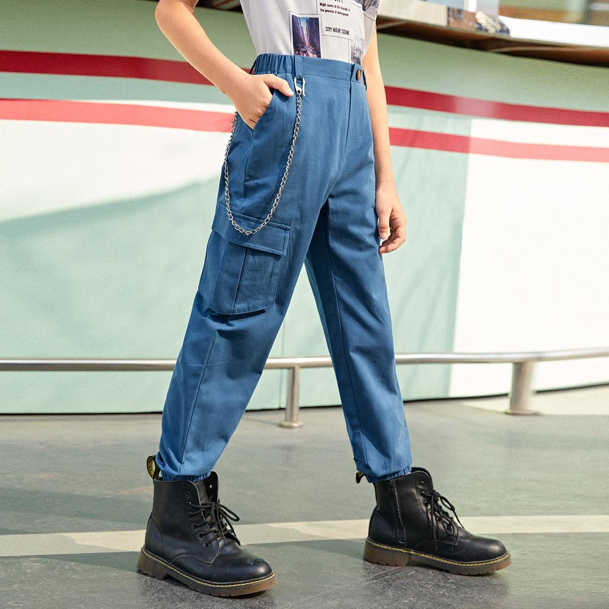 Брюки-карго с карманом и цепочкой для мальчиков