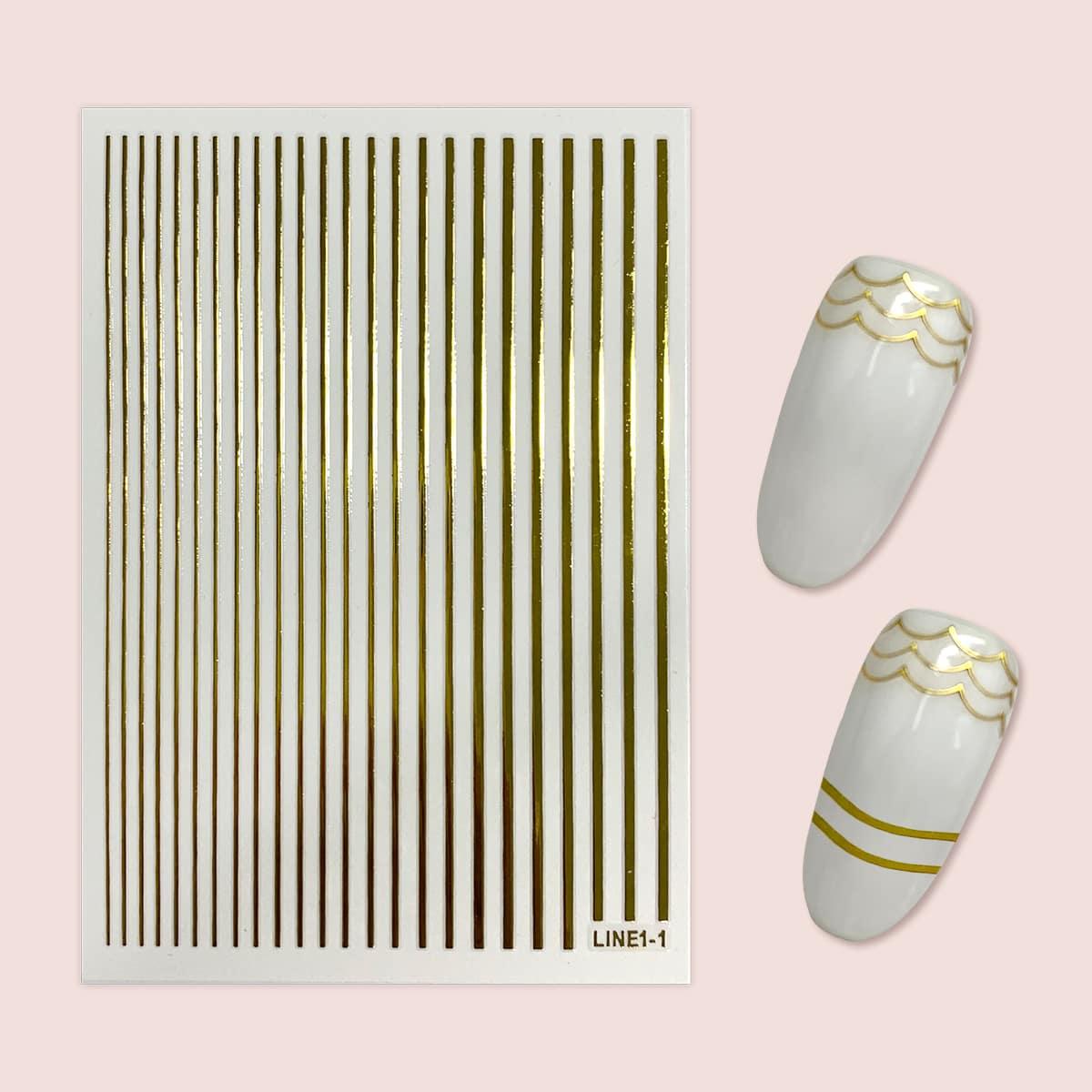 1sheet Line Nail Art Sticker