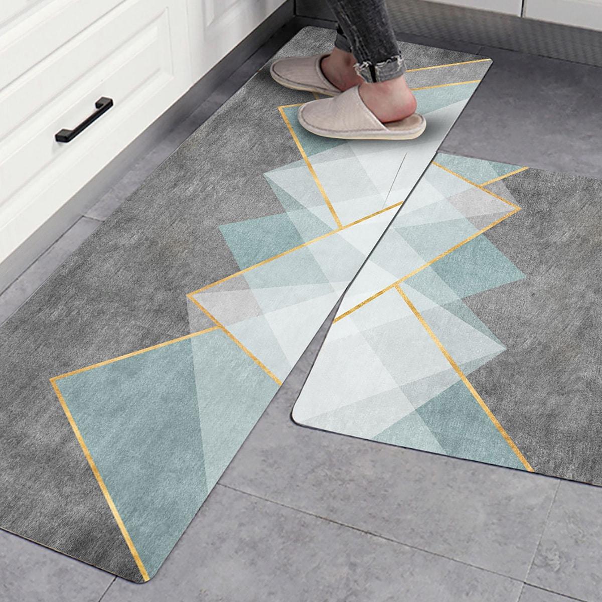 1 Stück Küchenteppich mit Geometrie Muster