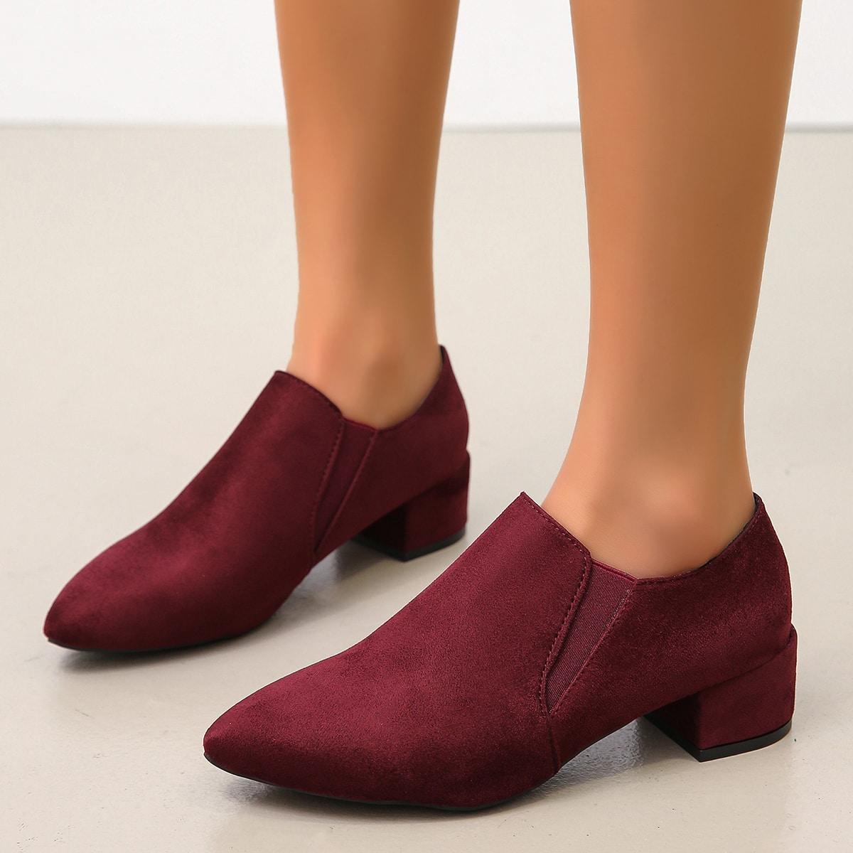 Остроконечные замшевые туфли-лодочки на низком каблуке от SHEIN