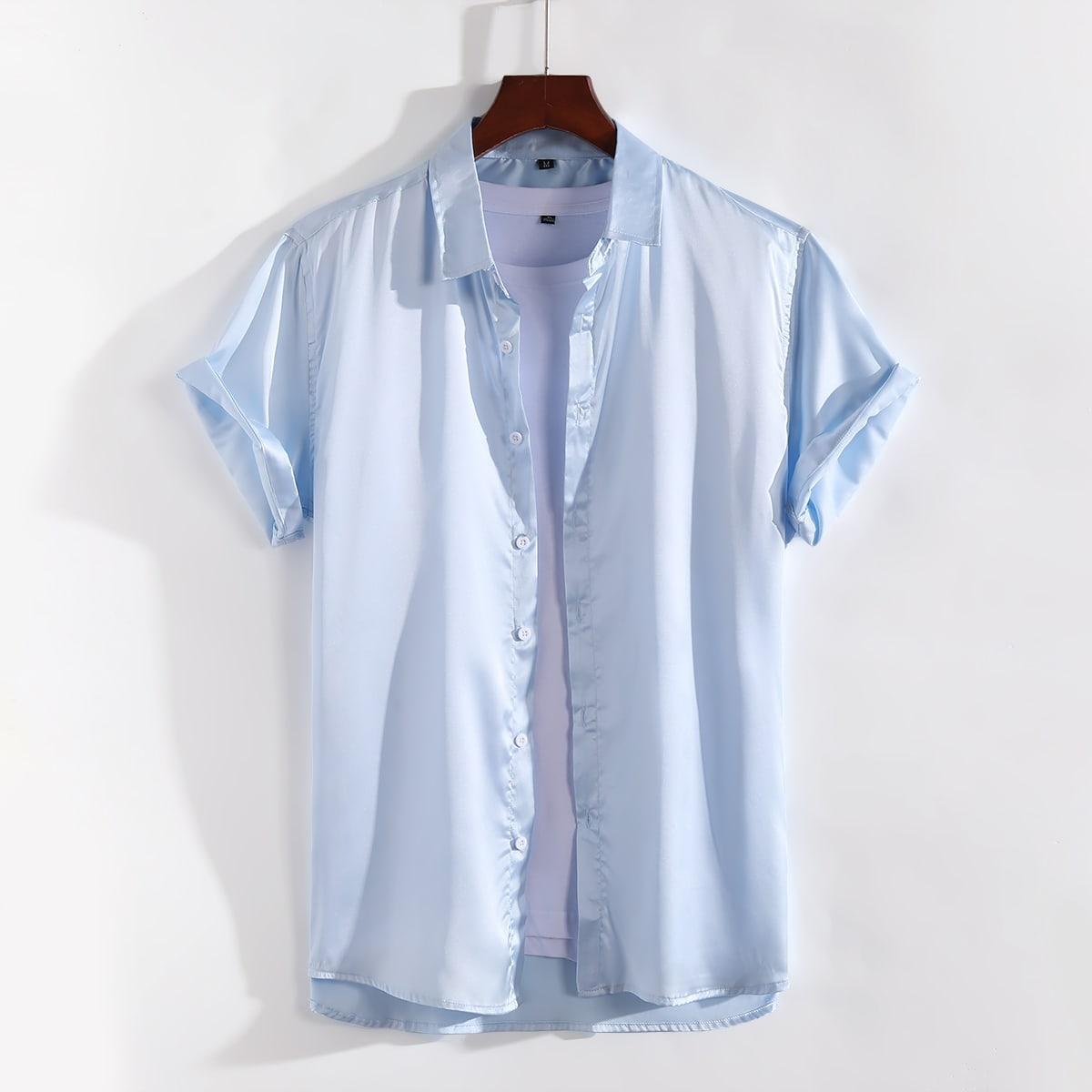 Мужская атласная рубашка на пуговицах