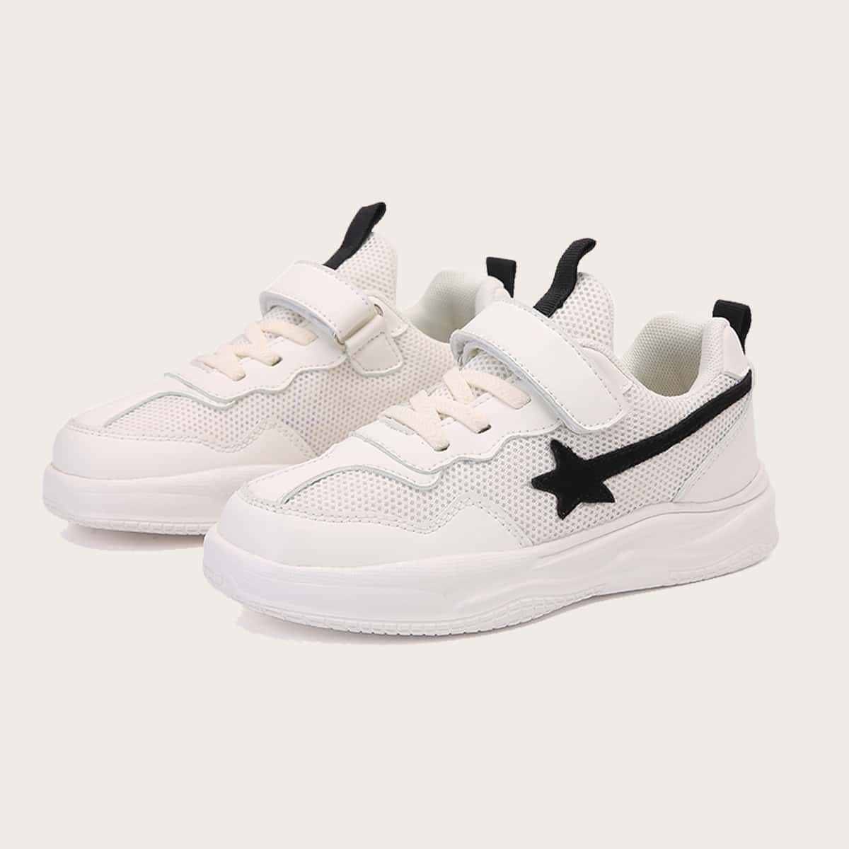 Boys Star Pattern Velcro Strap Sneakers