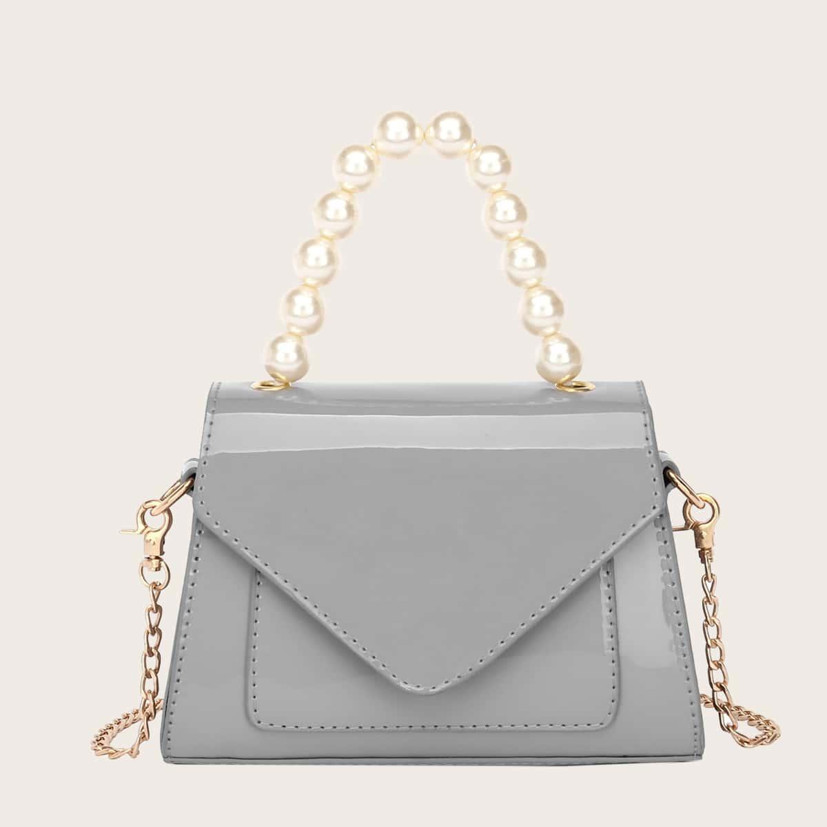 Lackleder Handtasche mit Kunstperlen-Griff