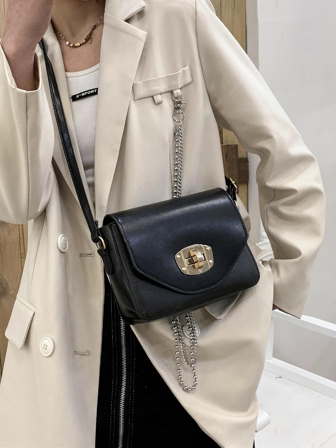 turn-lock flap crossbody bag