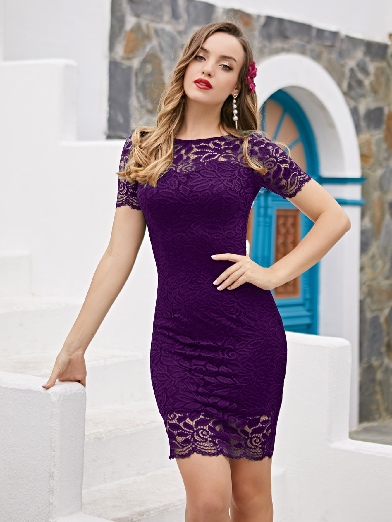 solid lace bodycon dress