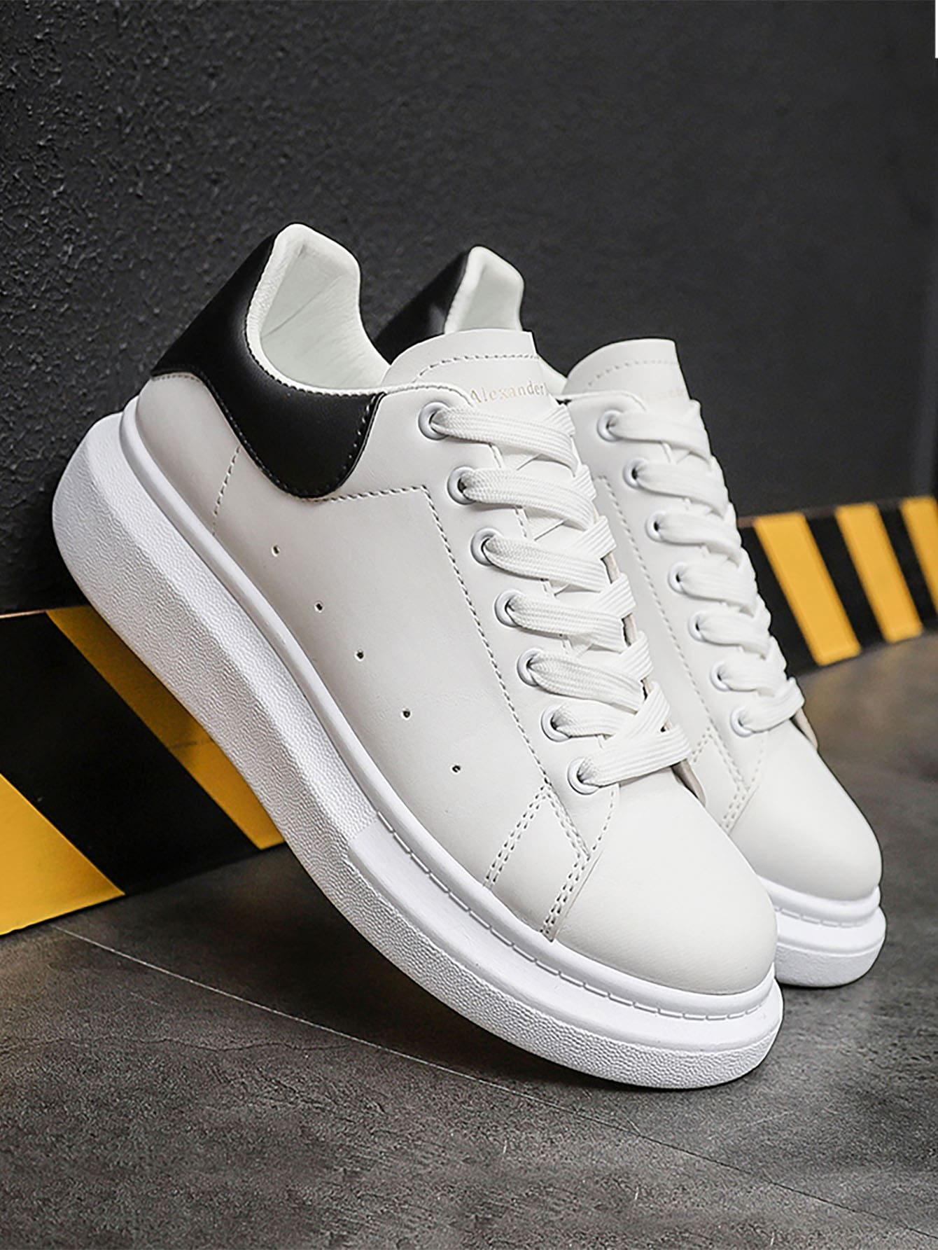 Men Perforated Detail Lace-Up Front Skate Shoes