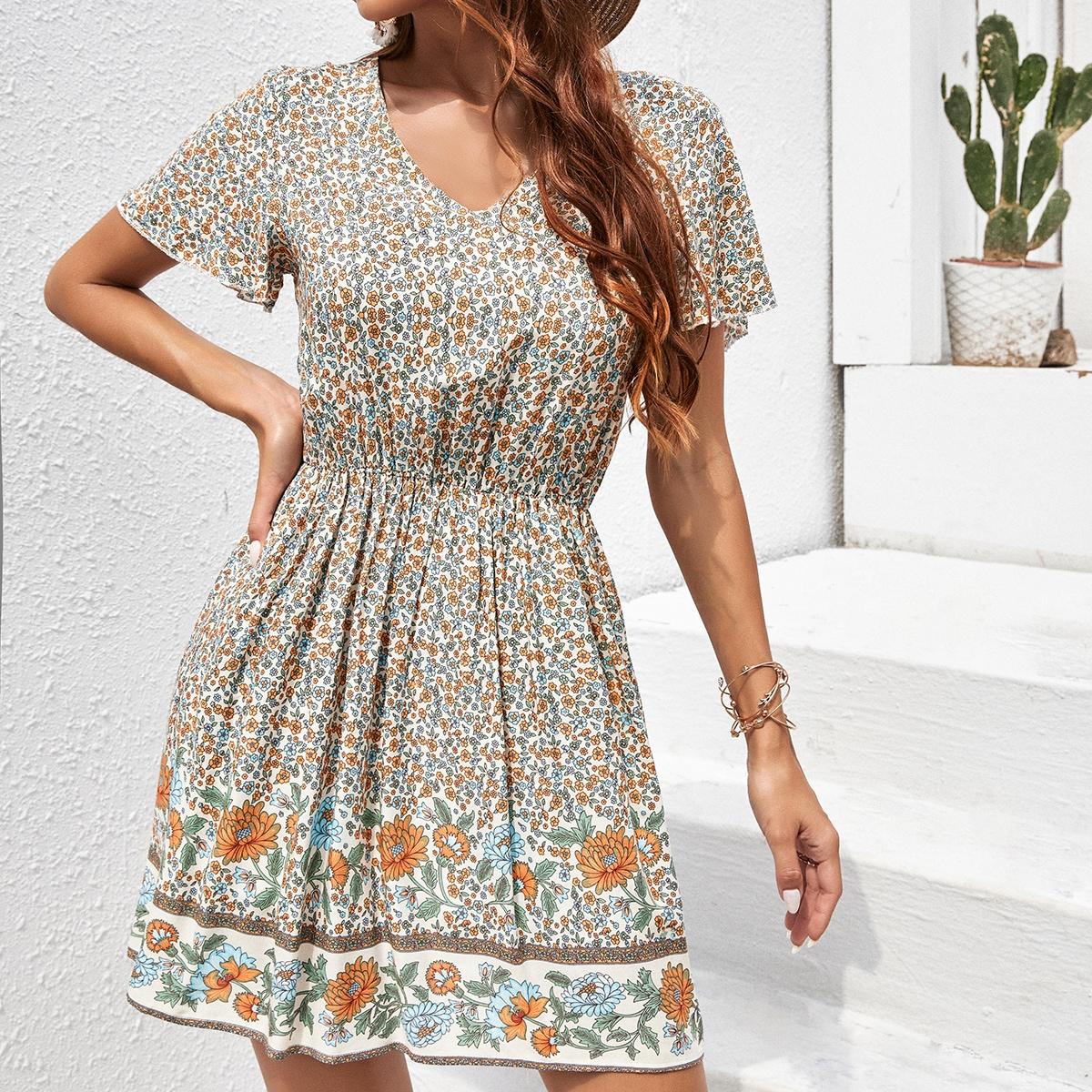 Floral Print V Neck A-line Dress