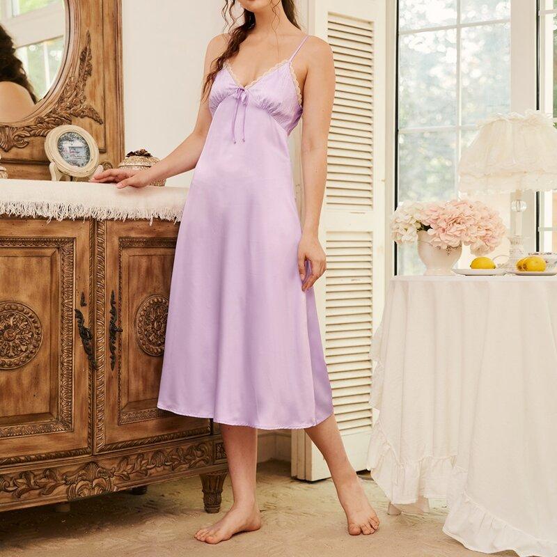 Tie Front Lace Trim Satin Slip Nightdress, Pastel lilac purple