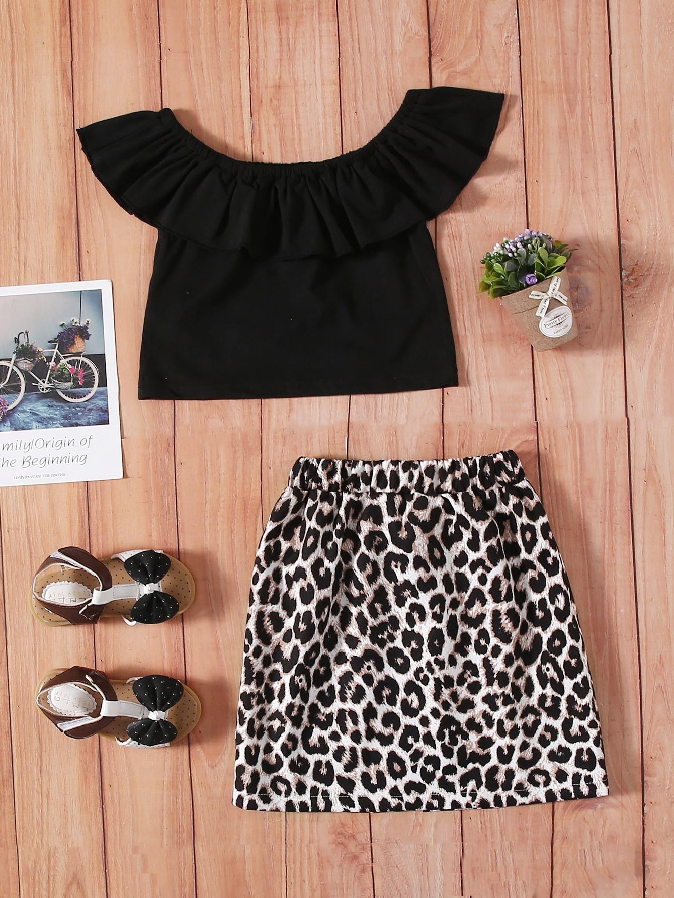 Toddler Girls Solid Flounce Trim Top & Leopard Print Skirt