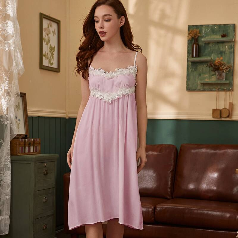 Lace Panel Solid Cami Nightdress, Baby pink