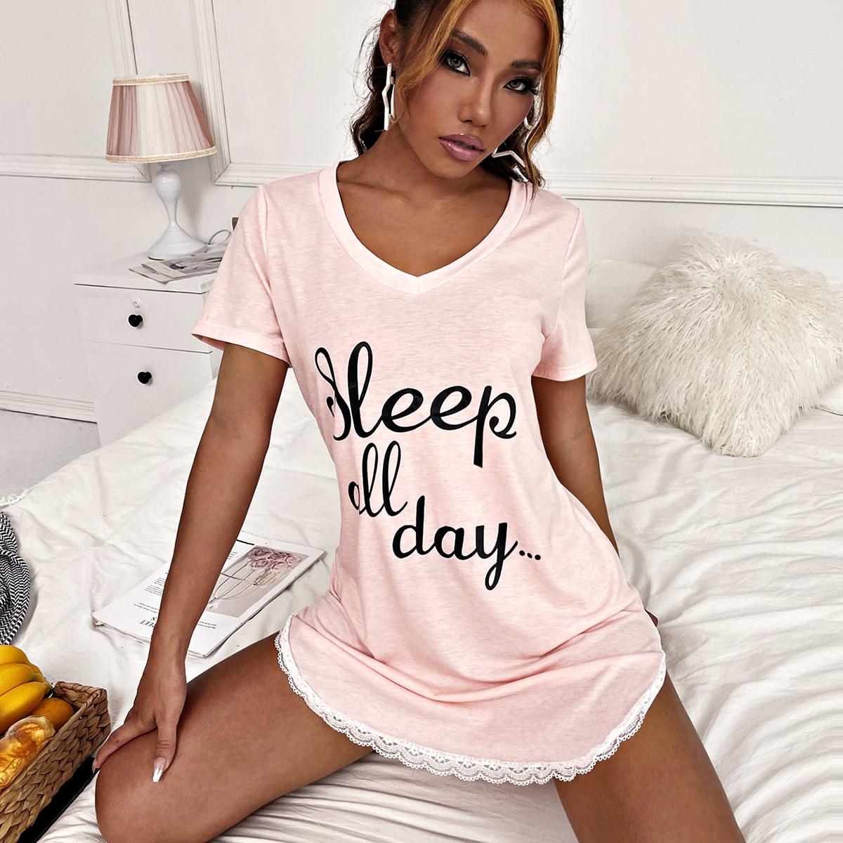 с фестонами Лозунг Повседневный Ночная рубашка