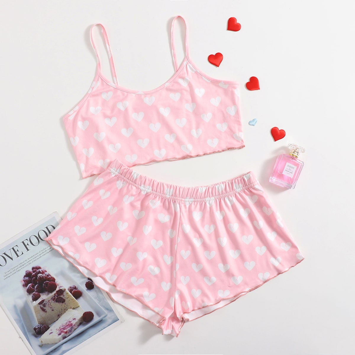 SHEIN / Allover Heart Print Cami Pajama Set