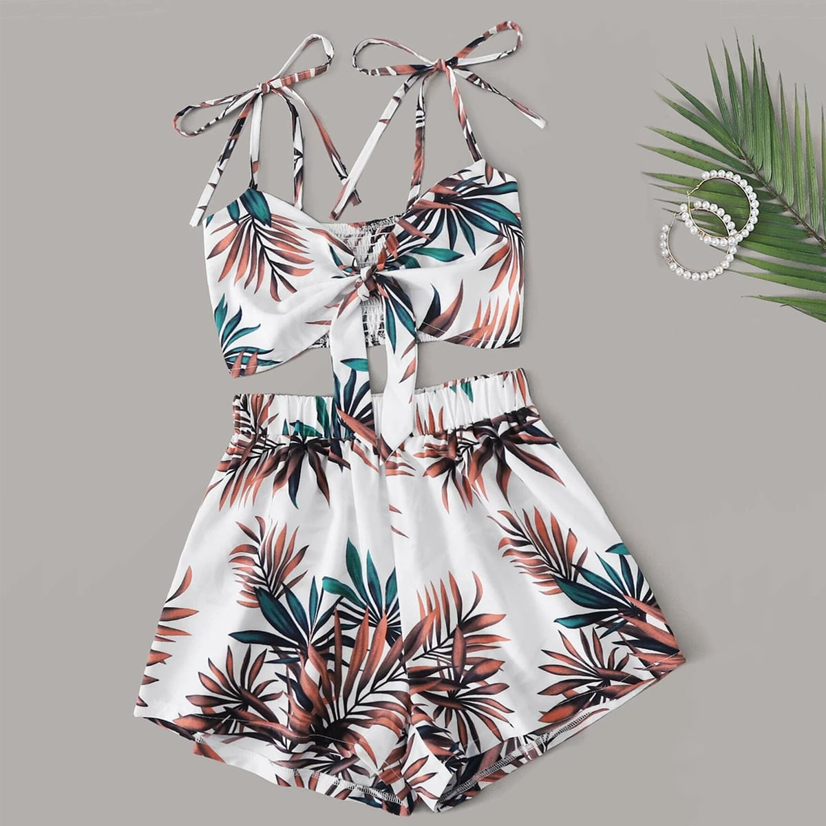 Plus Tropical Print Knot Strap Cami Top With Shorts