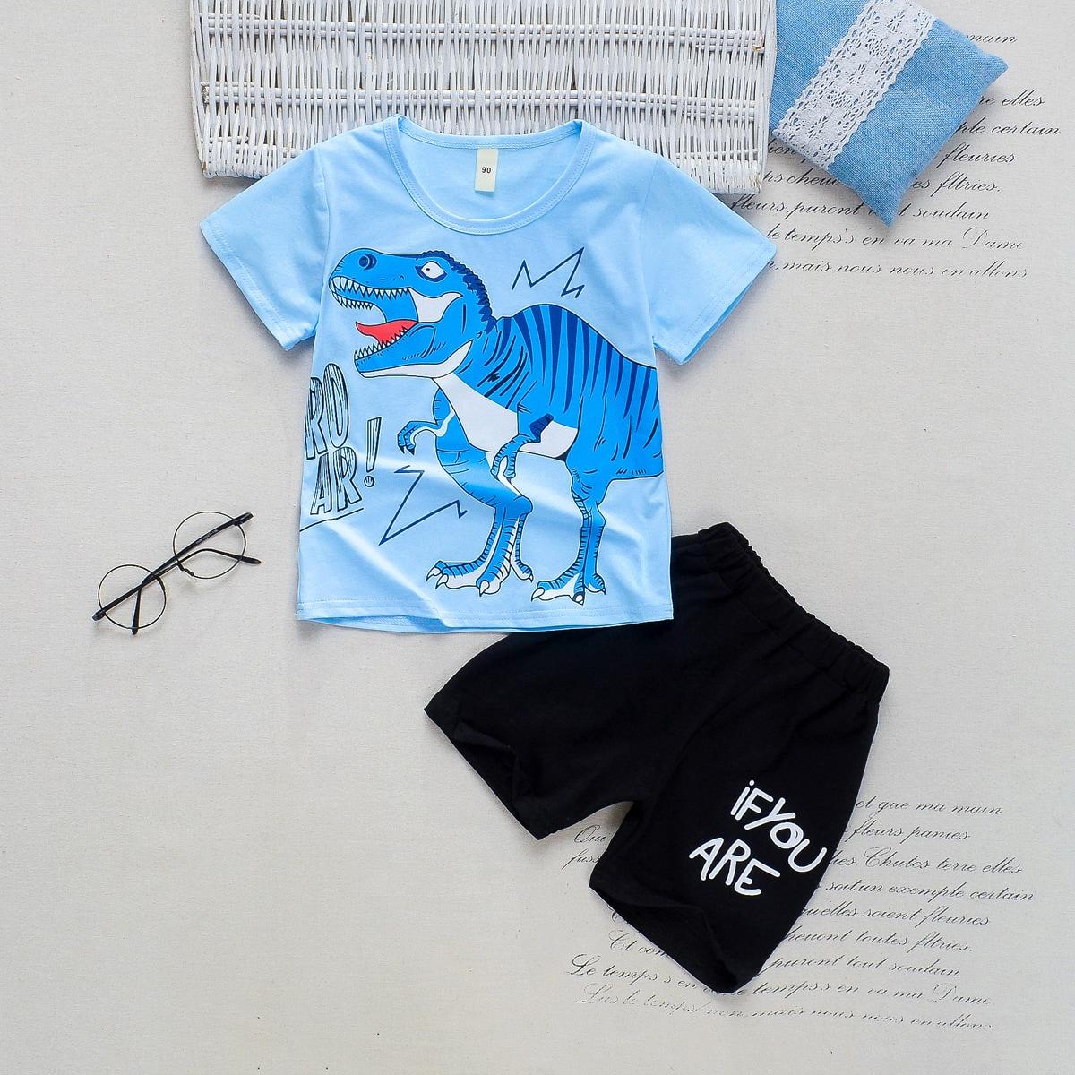 Шорты и футболка с текстовым, мультипликационным принтом для мальчиков