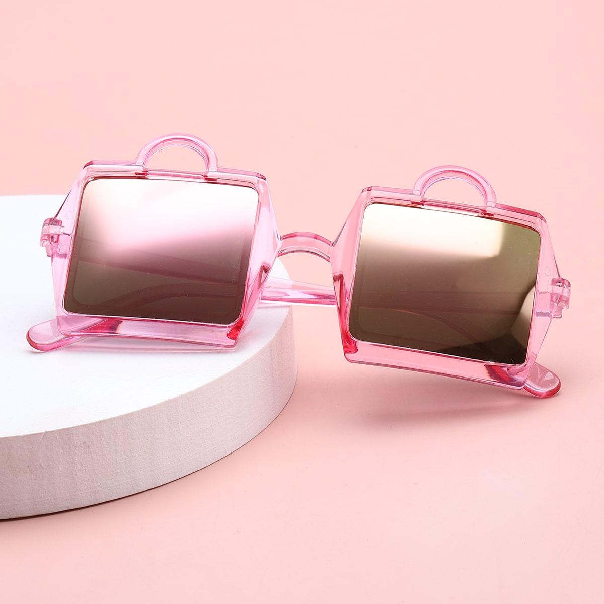 Солнцезащитные очки с тонированными линзами в акриловой оправе для девочек