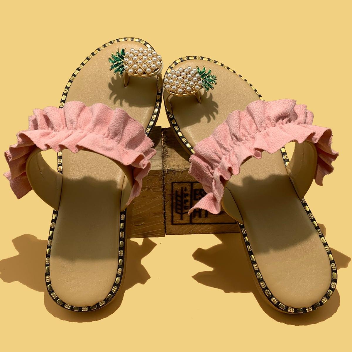 SHEIN / Ruffle Trim Thong Sandals