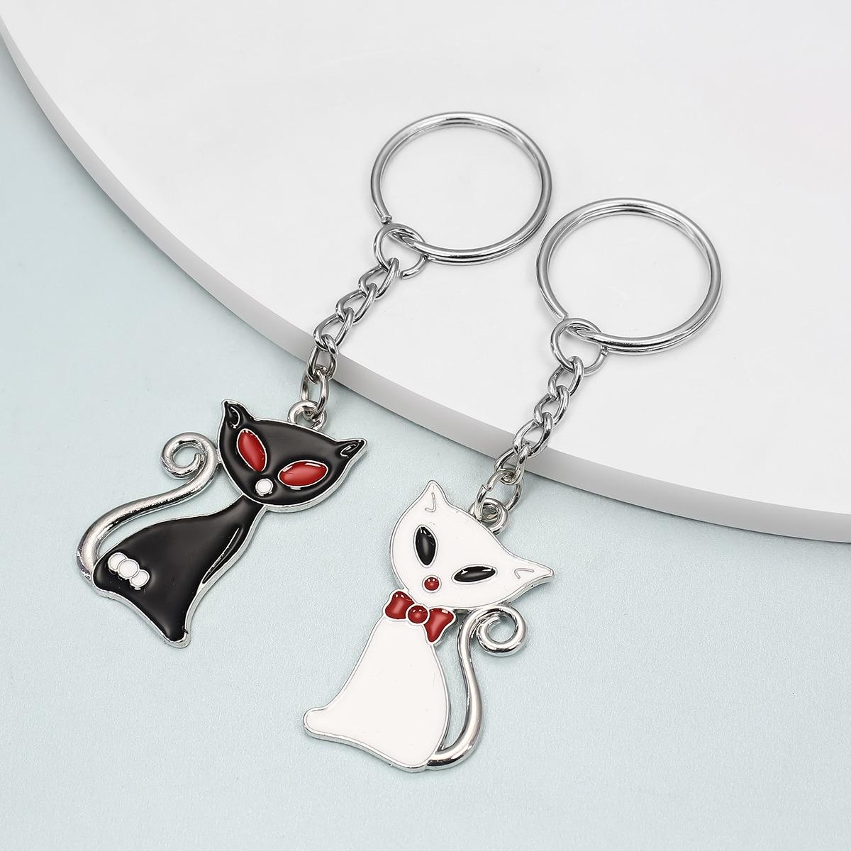 2 Stücke Schlüsselbund mit Katze Anhänger