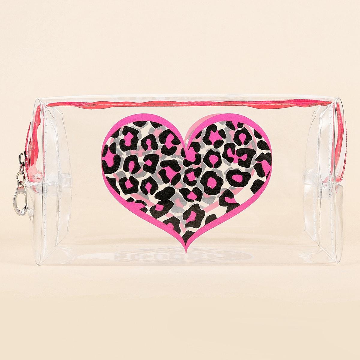 Прозрачная квадратная косметичка с принтом сердечка