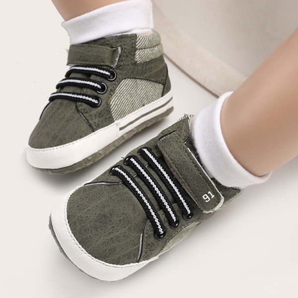 Baby Boy Velcro Strap High Top Sneakers, Army green