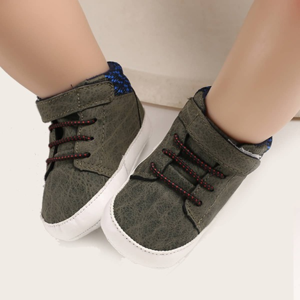 Baby Boy High Top Velcro Strap Sneakers, Army green