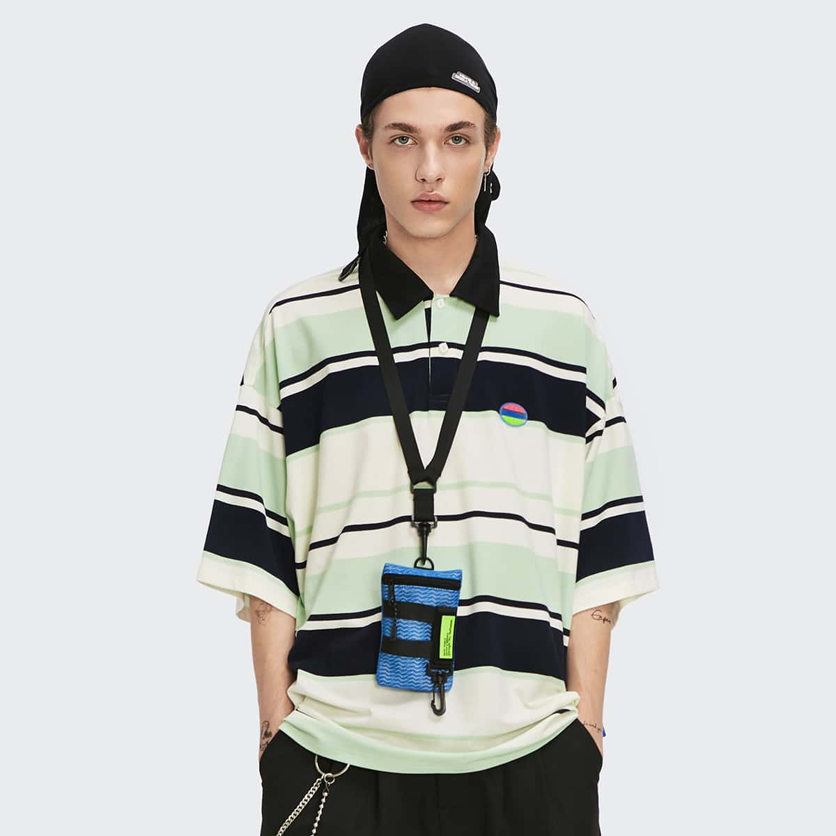 Men Letter Patch Drop Shoulder Striped Polo Shirt, SHEIN  - buy with discount