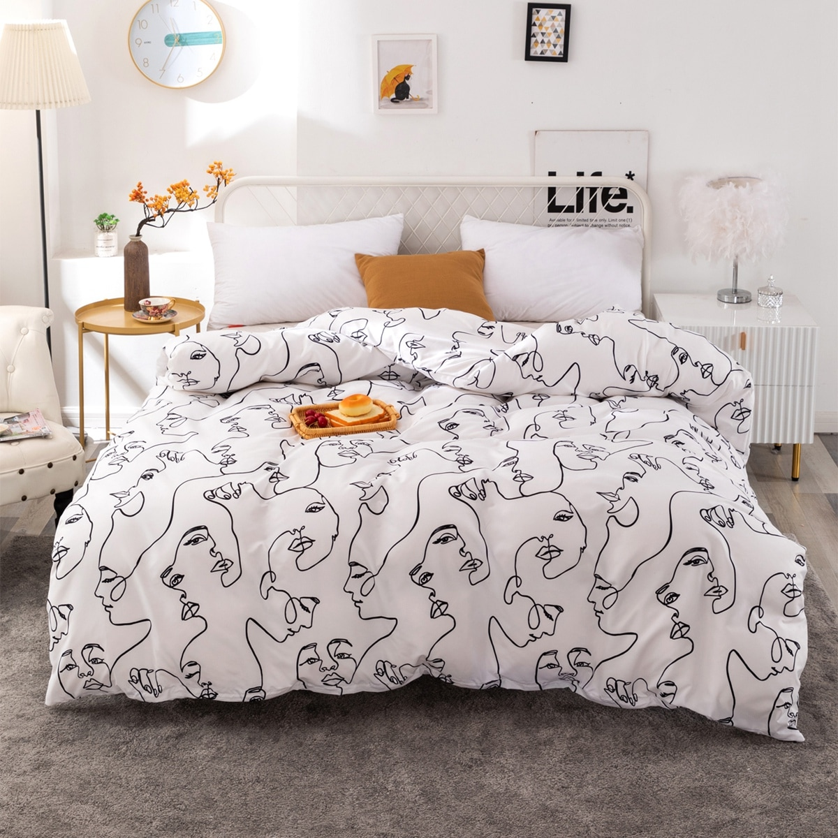 Abstract Face Print Duvet Cover Without Filler