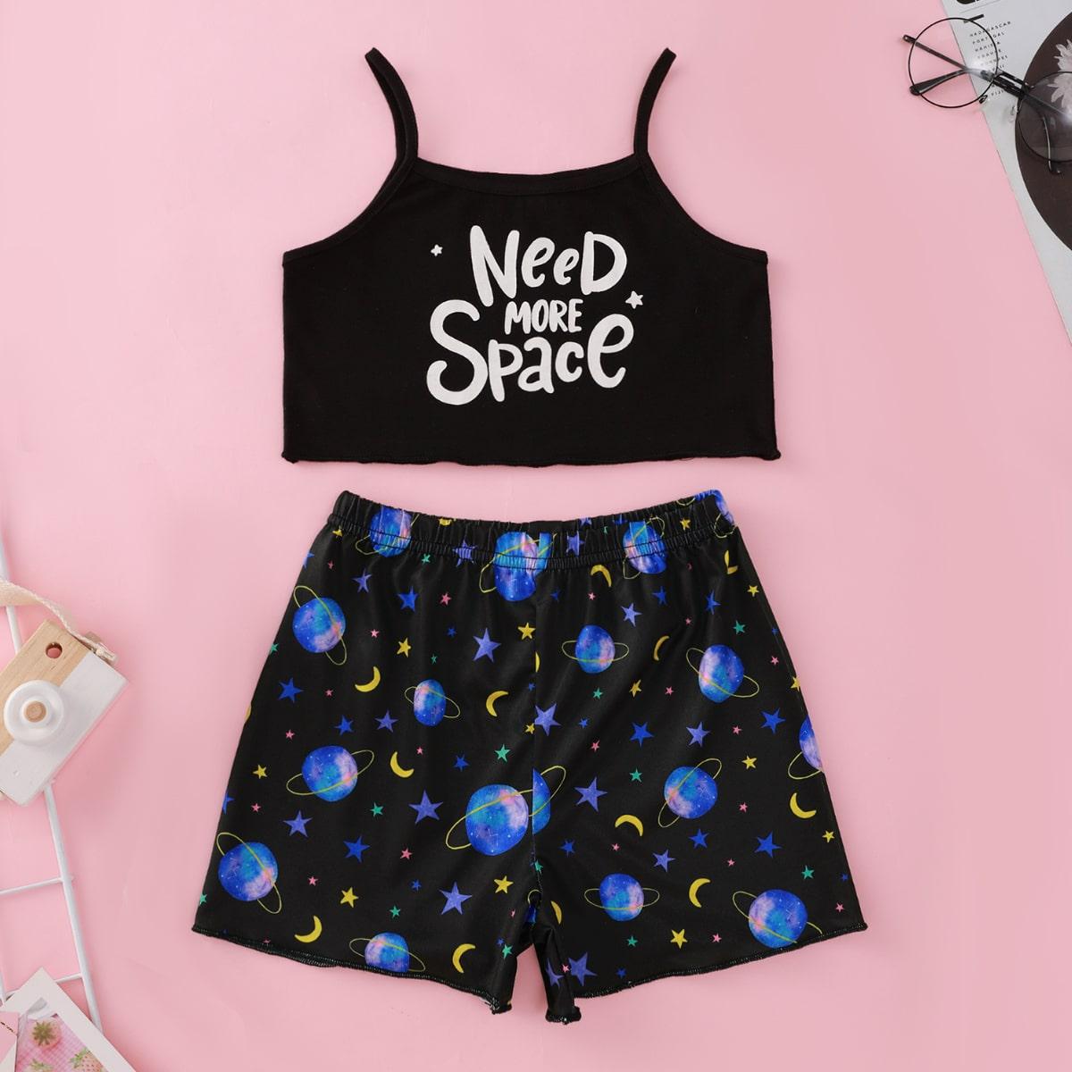 Принт космос милый Домашняя одежда для девочек