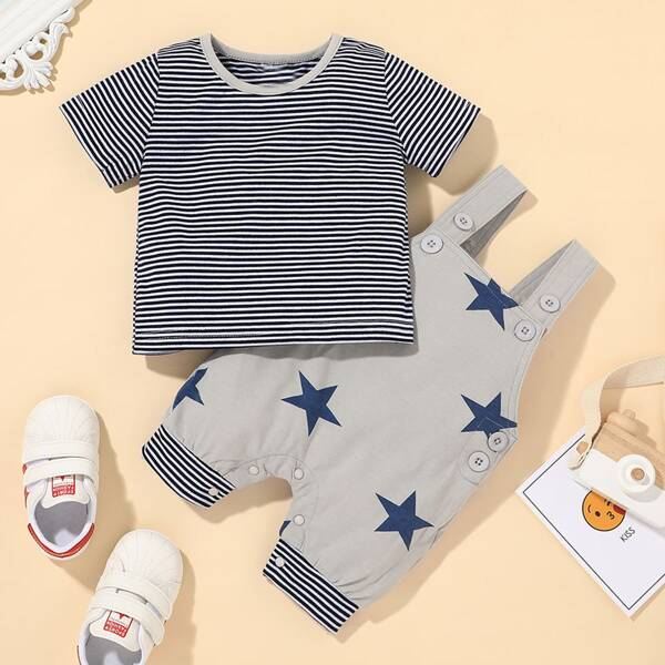 Baby Boy Striped Tee & Star Print Overall Jumpsuit, Grey