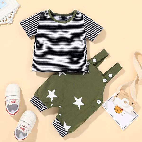 Baby Boy Striped Tee & Star Print Overall Jumpsuit, Multicolor