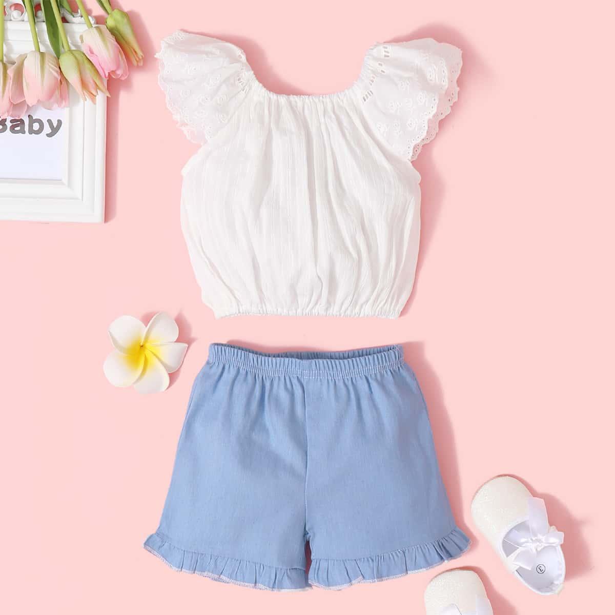 SHEIN Schattig Kleurblok Baby-setjes Rimpeling